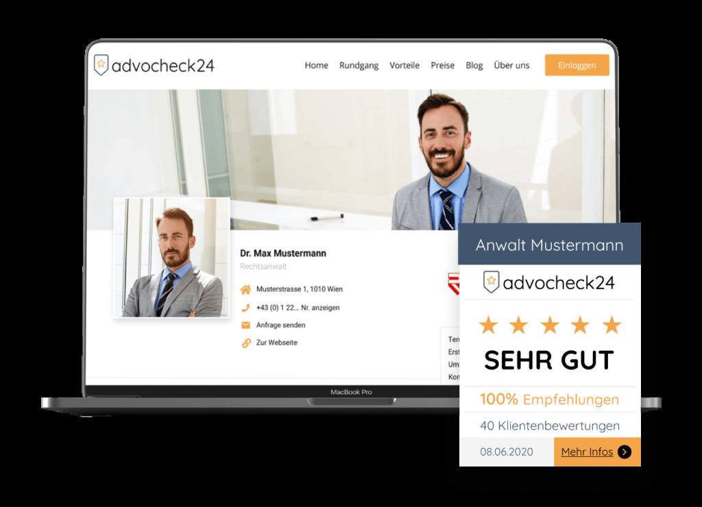 Advocheck24 Grafik Profil und Website Widget für Bewertungen