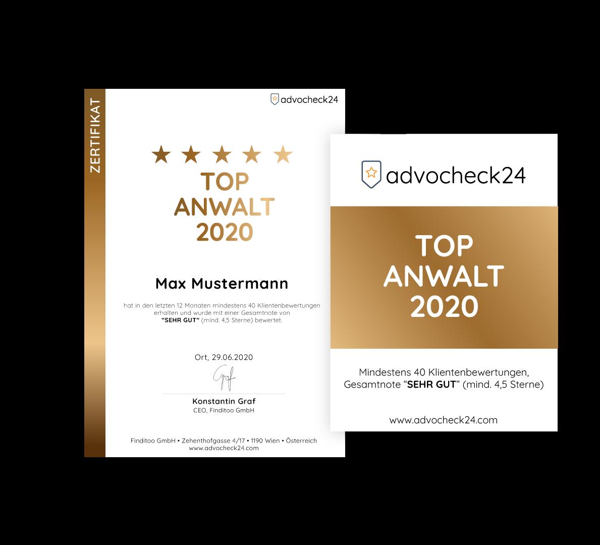 Advocheck24 Auszeichnung Top Anwalt
