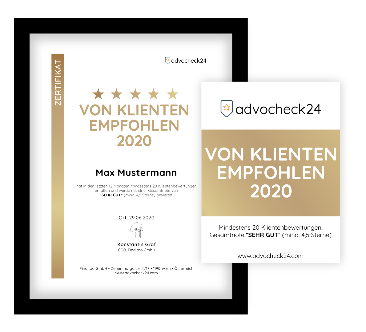 Advocheck24 Auszeichnung Von Klienten empfohlen