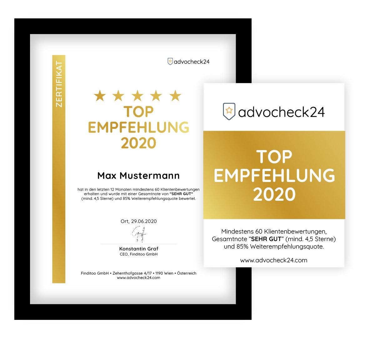 Auszeichnung Top Empfehlung Urkunde