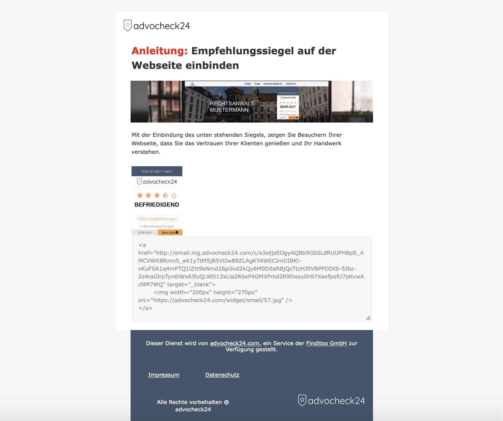 Empfehlungssiegel an Webdesigner schicken