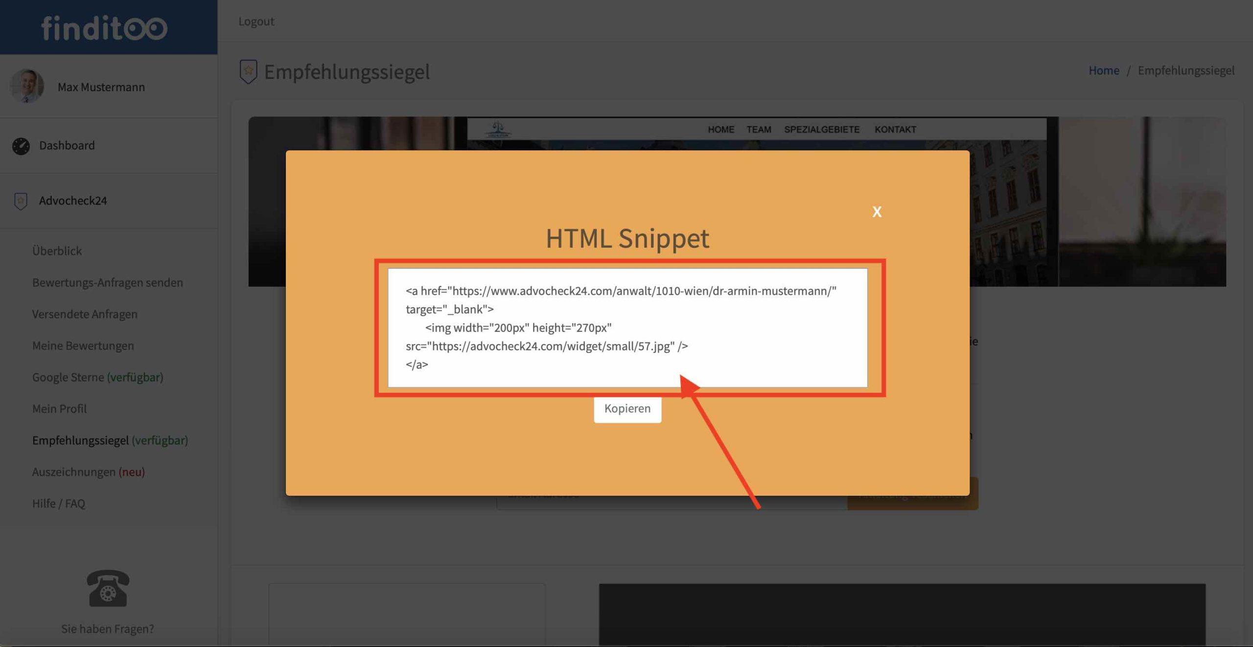 HTML Snippet einbinden Grafik