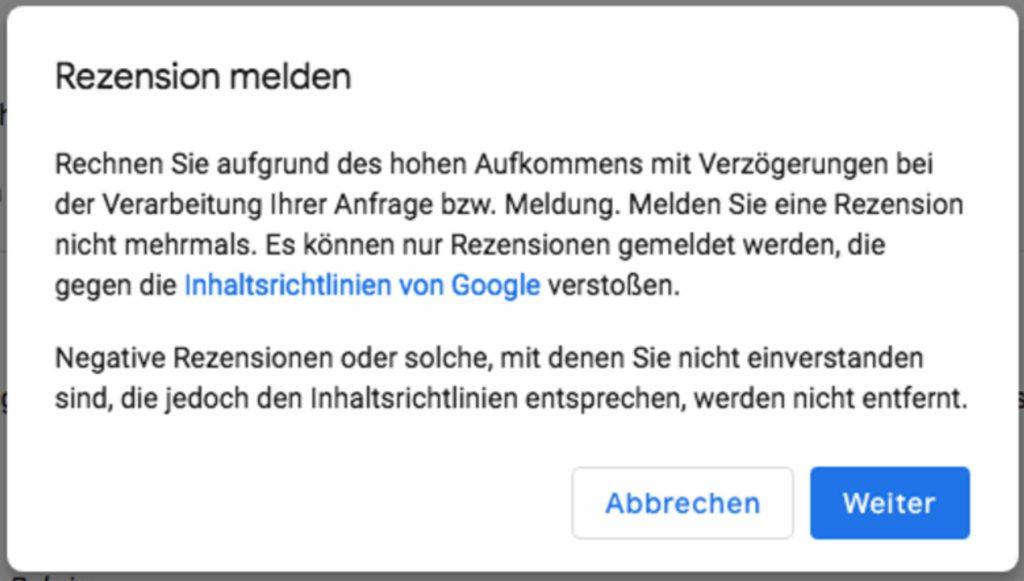Google Rezension melden